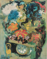 Emmanuel Mane-katz Color Lithograph Abstract Expressionist And039flower Cartand039