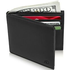 Genuine Leather Bifold Mens Wallet With Middle Flap ID Window RFID Blocking $9.99