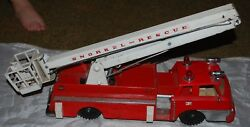 Vintage Sears Remote Control Snorkel Rescue Fire Engine Truck Tin And Plastic Toy