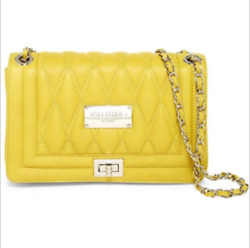 MARIO VALENTINO ALICE LEATHER CHAIN STRAP YELLOW CROSS BODY SHOULDER BAG QUILTED