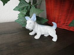 Vintage Scottish Terrier Scottie Dog Miniature Figurine Blue White Ceramic Japan