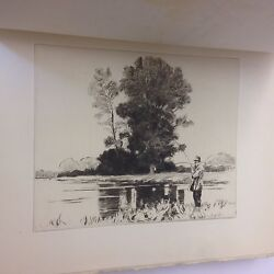 A Summer On The Test John Willer Hills 1924 Signed.dry Points Norman Wilkinson
