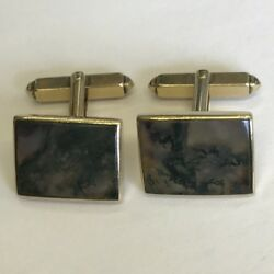 Unusual Vintage 9ct Solid Gold And Moss Agate Pair Of Cufflinks 1.7cm X 1.3cm