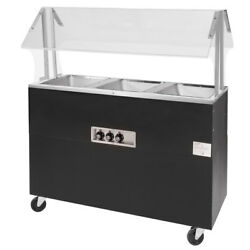 Advance Tabco 54 Electric 3 Wells Portable Hot Food Table Solid Base 120v