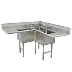 Advance Tabco 3 Compartment Corner Sink 18x18x14 Bowl Two Drainboards
