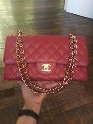 Authentic Chanel Medium Large Classic Double Flap - Dark Red GHW 9A RARE