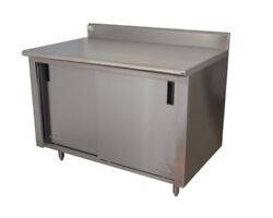 Advance Tabco 108wx24d Stainless Steel Cabinet Base W/ Sliding Doors