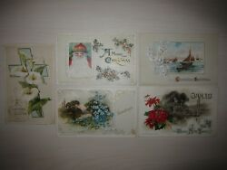 Lot Of 5 Antique 1912 / 1913 John Winsch Post Cards, Easter Christmas New Year