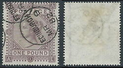 1867-83 Great Britain Used Sg 129 1andpound Plate 1 Ae