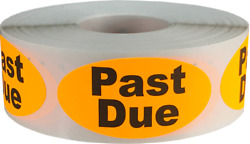 Past Due Labels 1 X 2 Inch Oval Shape 500 Total Adhesive Stickers