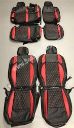 Jeep Wrangler Jl Red Diamond Stitched Leather Seat Covers - Sahara Or Sport