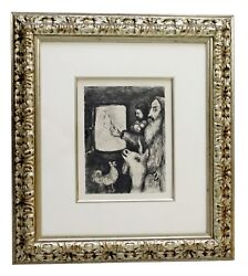Mid Century Modern Framed Etching Signed by Marc Chagall 1930s Dove of the Ark