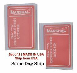 Set of 2 USA Made Trifold Plastic Wallet Inserts Picture Card Holder 6 Pages NEW