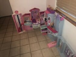 Barbie House Lot Doll Fold And Go Furniture Pets Fun As Is Play Set Clothes