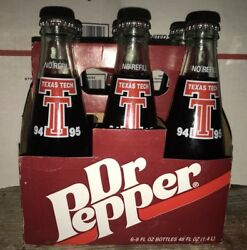 Texas Tech 8 Oz Dr. Pepper Six Pack With Carrier Painted Bottles. Collectible
