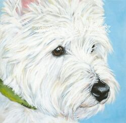 West Highland Terrier WESTIE MATTED SQUARE PRINT