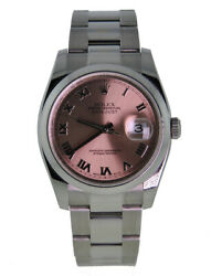 ROLEX OYSTER PERPETUAL 36MM DATEJUST STAINLESS STEEL DOMED BEZEL SALMON ROMAN...