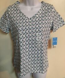 Nwt Relativity White Gray Blue V Neck Shirt Sleeve Shirt Top Blouse Size Small S