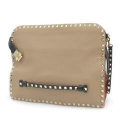 VALENTINO Clutch Bag Italy Brown Dust Bag Auth Mens Free Shipping Mint #0790