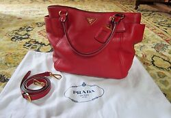 PRADA Vitello Daino Shoulder Bag Red Leather Double Pocket Style Sold Out