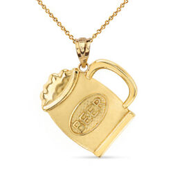 10k Yellow Gold Cold Beer Mug Disc Pendant Necklace