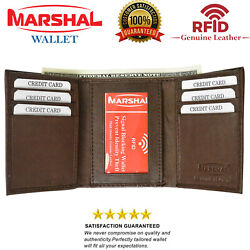 Mens Trifold Genuine Leather RFID Blocking Wallet Brown New with BOX