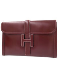 HERMES Clutch Bag Jige Rouge H Box Calf Auth Mens Free Shipping Excellent #0796