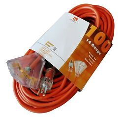 100-foot 14 Gauge 3-outlet Extension Cord Ul Lit End 14/3 Contractor Ft Feet