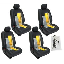4 Car Seats Carbon Fiber  Heater Kit Seat Universal Cushion - Round Switch New.