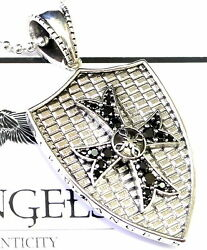Silver Knights Cross Shield Pendant With Black Diamonds By Sacred Angels