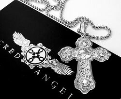 14k White Gold Designer Cross Pendant With Diamonds By Sacred Angels