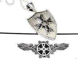 14k White Gold Knights Cross Shield Pendant With Black Diamonds By Sacred Angels
