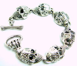 Menand039s Silver Skull Bracelet With Black Diamonds By Sacred Angels