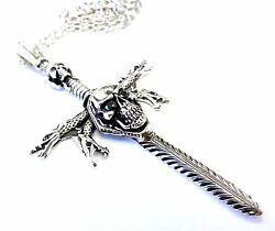 Silver Skull Sword Cross Pendant With Black Diamonds By Sacred Angels