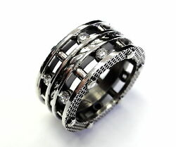 Menand039s Designer Silver Eternity Diamond Rope Ring By Sacred Angels