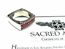Designer 14k White Gold Wedding Band With Rubies By Sacred Angels