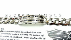 Menand039s Silver 3 Row Diamond Bracelet By Sacred Angels