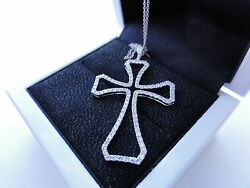 18 K Solid White Gold Diamond Cross By Sacred Angels