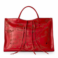 BALENCIAGA Valentine's Day Blackout City Bag in Red