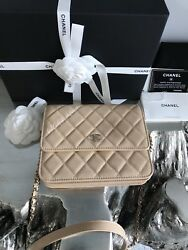 NWT CHANEL 2018 BEIGE CAVIAR GOLD SQUARE WOC MINI CLUTCH BAG WALLET ON CHAIN NEW