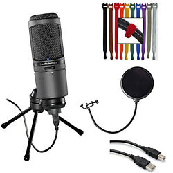 Audio-Technica AT2020USBi Condenser USB Mic + Pop Filter + Ext Cable + 10 Straps