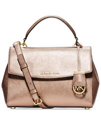 NEW MICHAEL KORS Logo Charm Saffiano leather Shimmer Metallic crossbody Bag Gold