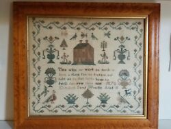 Vintage Conservation Mounted 1870 Sampler Measures 23 X 20 Inches.andnbsp