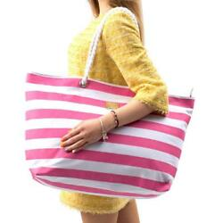 Large Canvas Beach Bag - Striped Tote With Waterproof Lining - Top Zipper...