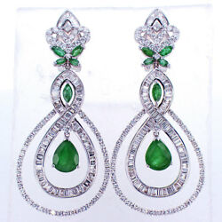 12.74 CT Emerald and Diamond Drop Earrings in 18K White Gold F-G SI