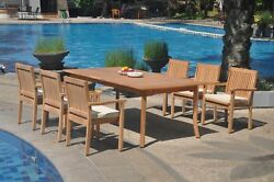 A-grade Teak 7pc Dining 118 Rectangle Table 6 Leveb Stacking Arm Chair Set