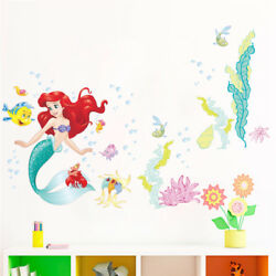 The Little Mermaid Wall Stickers For Kids Rooms Home Decoration DIY 3D Window
