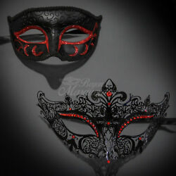 His amp; Her Couple Masquerade Mask Black Red Themed Phantom Mask M6107 M7110 $17.99