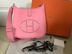 NIB Authentic Hermes Evelyn III GM Rose Confetti Pink Epsom Leather Shoulder Bag