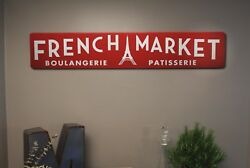 Vintage French Paris Wood Sign Rustic Kitchen Wall Decor French Market Eiffel